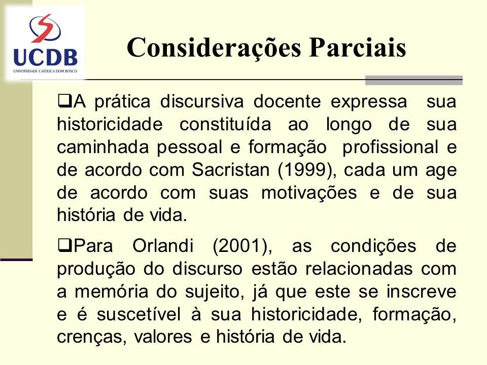 Considerações Parciais A prática discursiva docente expressa sua historicidade constituída ao longo de sua caminhada pessoal e formação profissional e
