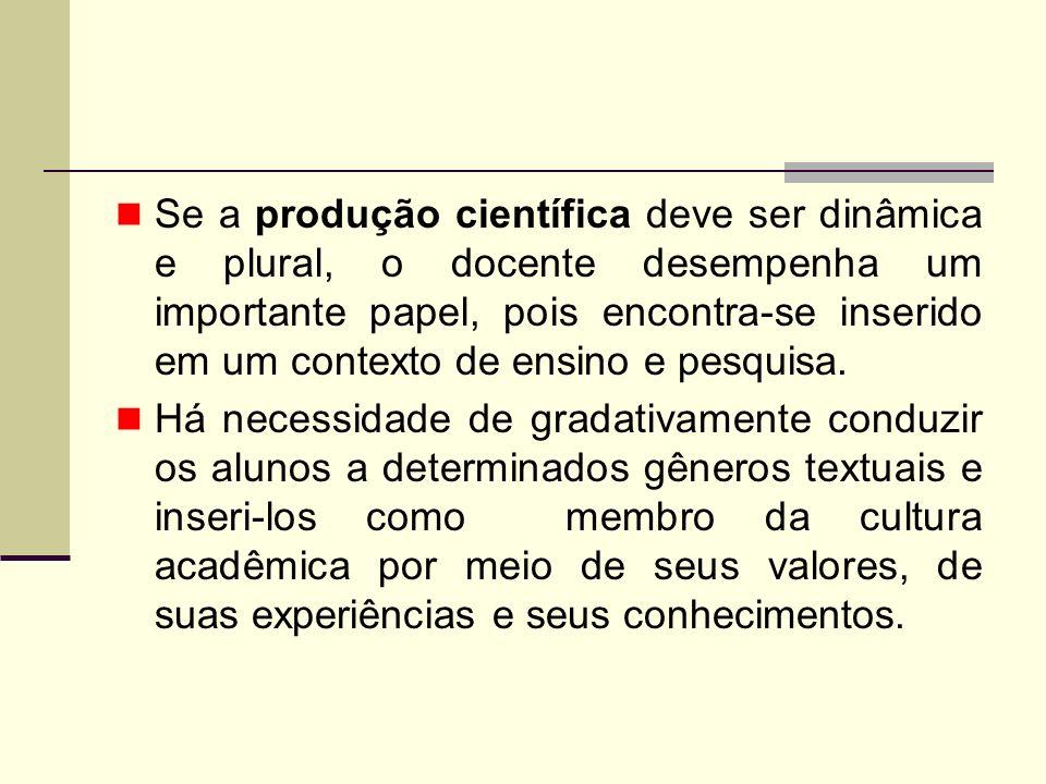 Se a produção científica deve ser dinâmica e plural, o docente desempenha um importante papel, pois encontra-se inserido em um contexto de ensino e pe