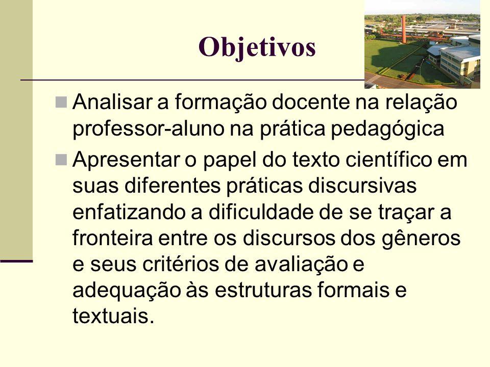 Objetivos Analisar a formação docente na relação professor-aluno na prática pedagógica Apresentar o papel do texto científico em suas diferentes práti