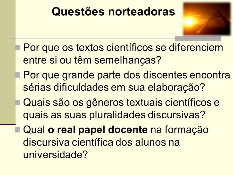 Questões norteadoras Por que os textos científicos se diferenciem entre si ou têm semelhanças? Por que grande parte dos discentes encontra sérias difi