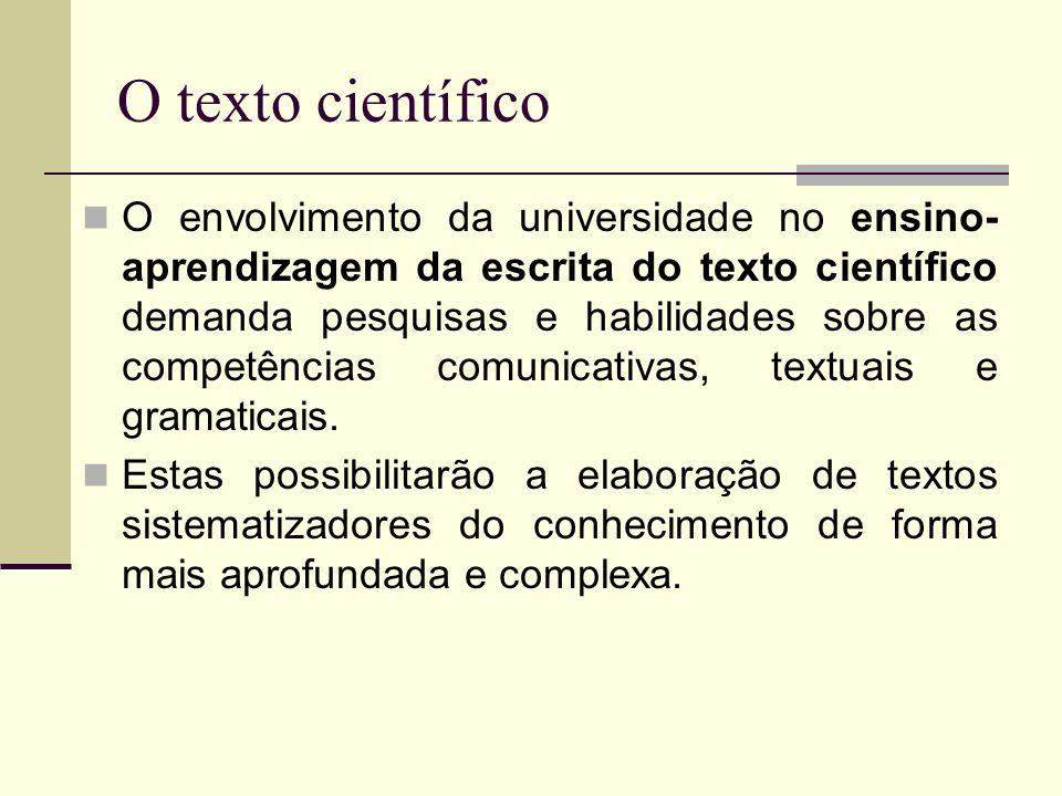 O texto científico O envolvimento da universidade no ensino- aprendizagem da escrita do texto científico demanda pesquisas e habilidades sobre as comp
