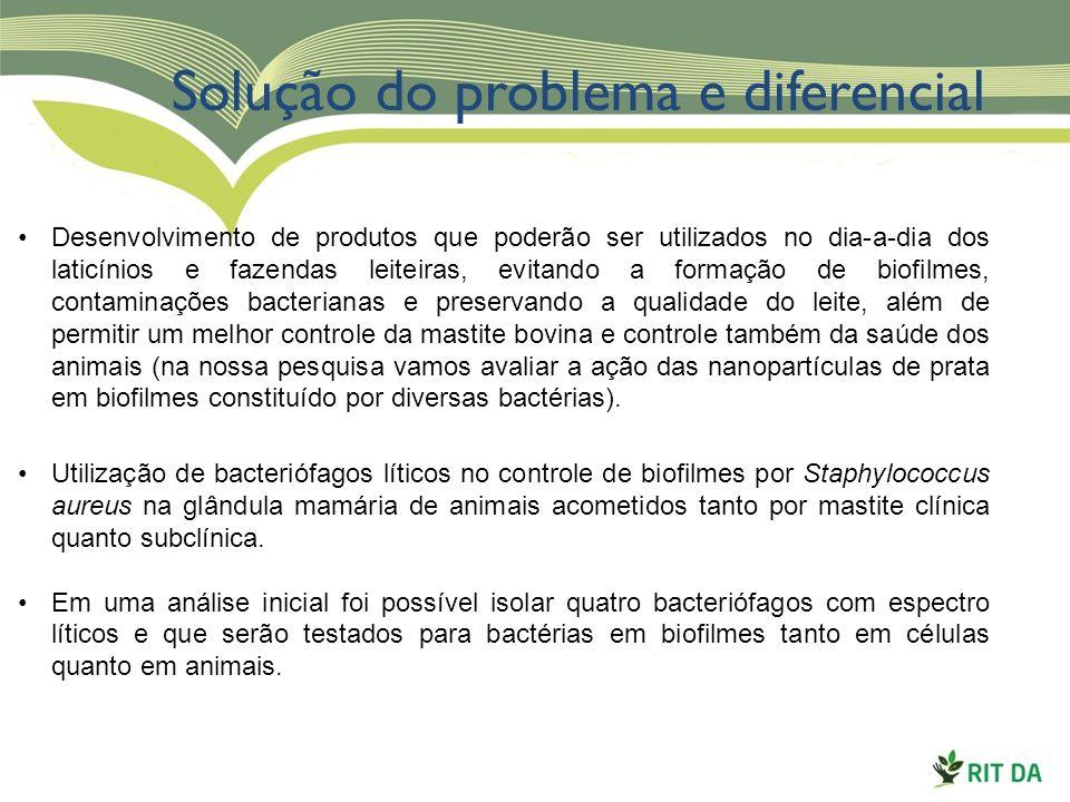 Solução do problema e diferencial Desenvolvimento de produtos que poderão ser utilizados no dia-a-dia dos laticínios e fazendas leiteiras, evitando a