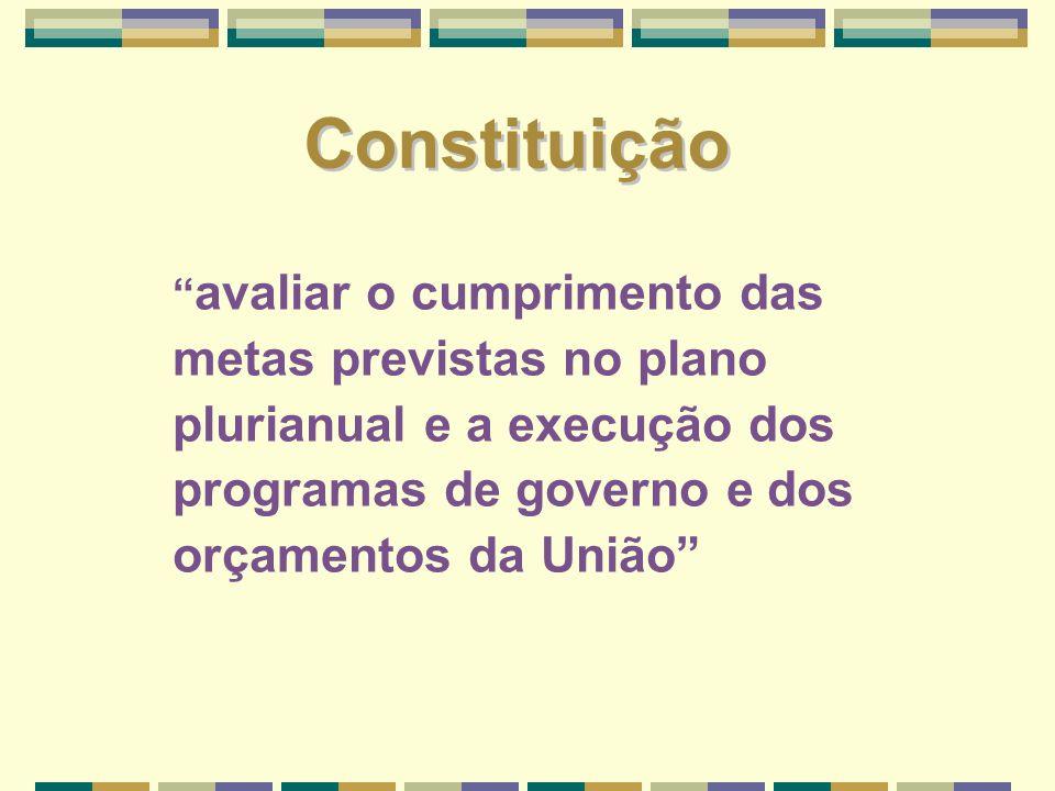 Constituição avaliar o cumprimento das metas previstas no plano plurianual e a execução dos programas de governo e dos orçamentos da União