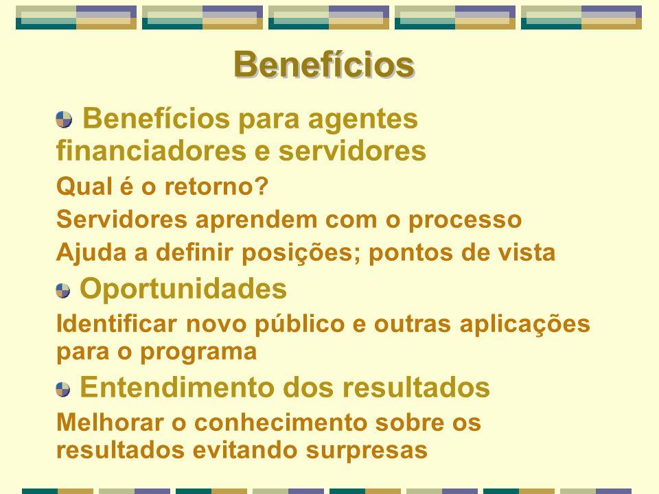 Benefícios para agentes financiadores e servidores Qual é o retorno? Servidores aprendem com o processo Ajuda a definir posições; pontos de vista Opor