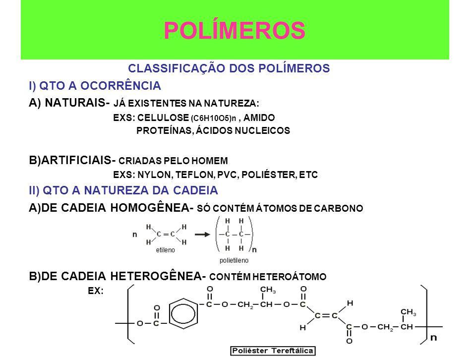 III) QTO AO TIPO DE REAÇÃO A)REAÇÃO DE ADIÇÃO- GERADOS A PARTIR DE UM ÚNICO MONÔMERO EXS POLÍMEROS CORTINAS DE BANHEIROS, BRINQUEDOS, ISOLAMENTOS DE FIOS ELÉTRICOS, E OUTROS artigos moldados e fibras câmaras de ar para pneus.