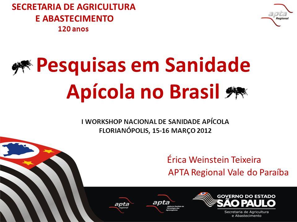 Pesquisas em Sanidade Apícola no Brasil Érica Weinstein Teixeira APTA Regional Vale do Paraíba I WORKSHOP NACIONAL DE SANIDADE APÍCOLA FLORIANÓPOLIS,