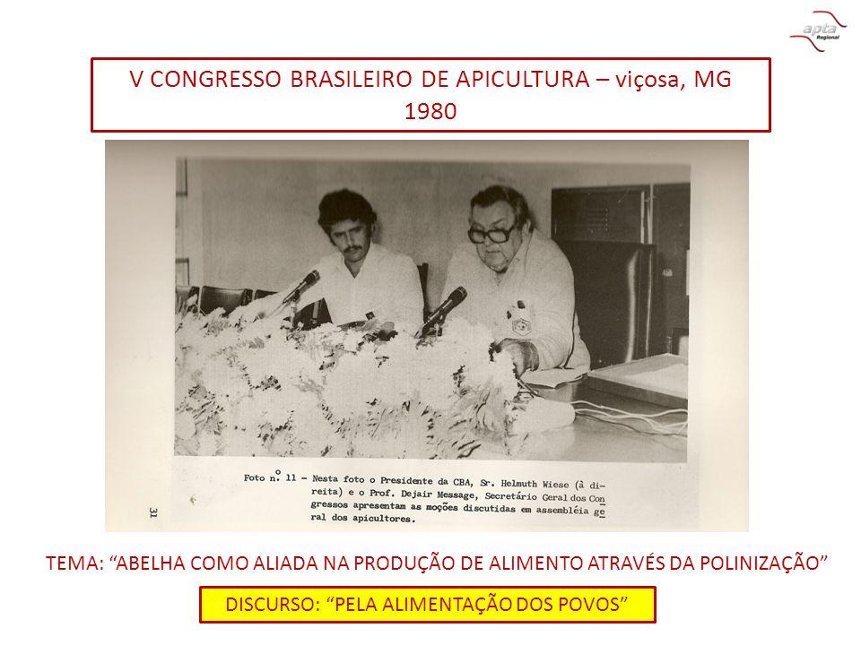 V CONGRESSO BRASILEIRO DE APICULTURA – viçosa, MG 1980 TEMA: ABELHA COMO ALIADA NA PRODUÇÃO DE ALIMENTO ATRAVÉS DA POLINIZAÇÃO DISCURSO: PELA ALIMENTA