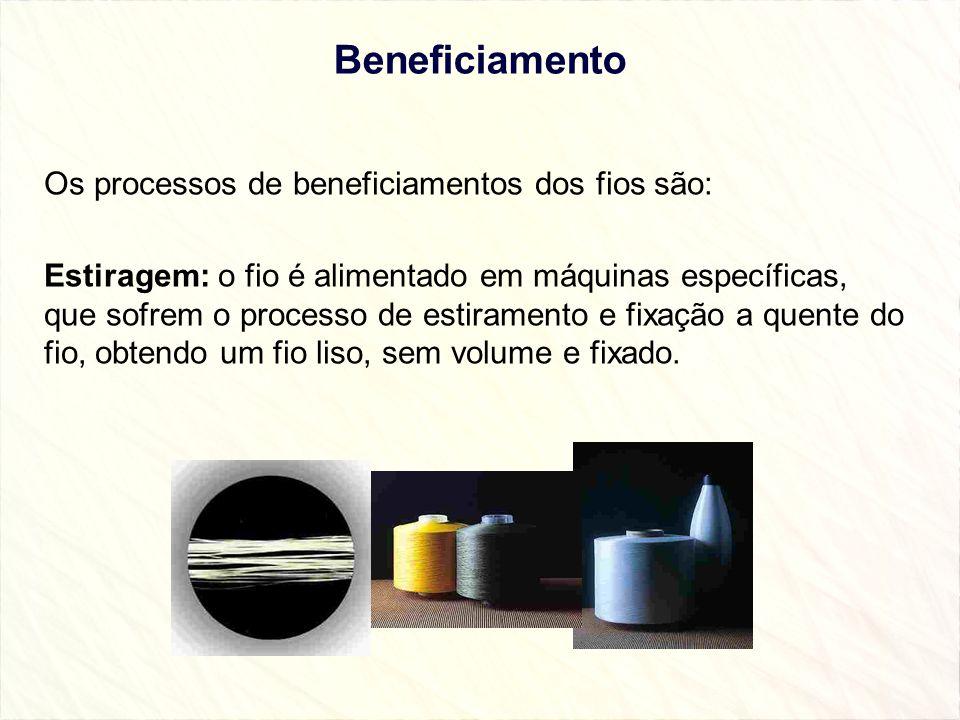 Beneficiamento Os processos de beneficiamentos dos fios são: Estiragem: o fio é alimentado em máquinas específicas, que sofrem o processo de estiramen