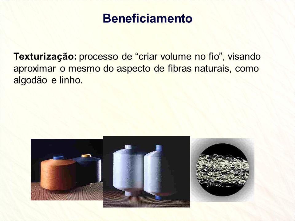 Beneficiamento Texturização: processo de criar volume no fio, visando aproximar o mesmo do aspecto de fibras naturais, como algodão e linho.
