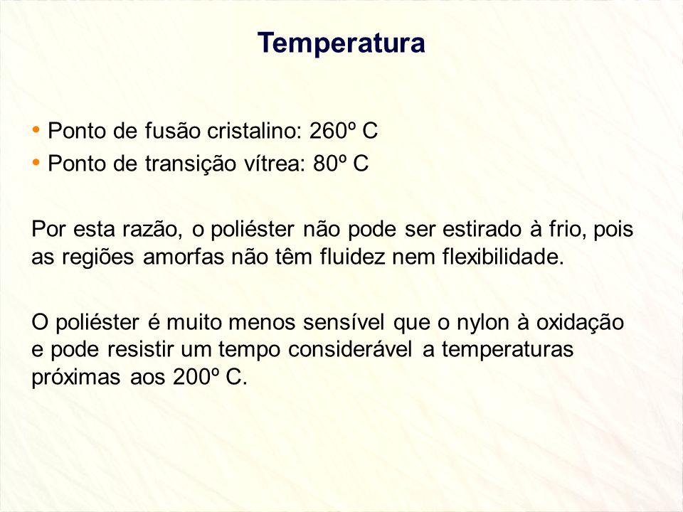 Temperatura Ponto de fusão cristalino: 260º C Ponto de transição vítrea: 80º C Por esta razão, o poliéster não pode ser estirado à frio, pois as regiõ
