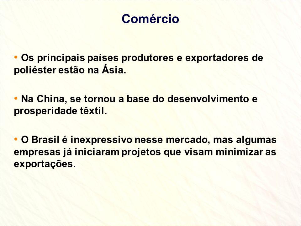 Comércio Os principais países produtores e exportadores de poliéster estão na Ásia. Na China, se tornou a base do desenvolvimento e prosperidade têxti