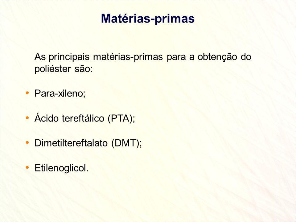 Matérias-primas As principais matérias-primas para a obtenção do poliéster são: Para-xileno; Ácido tereftálico (PTA); Dimetiltereftalato (DMT); Etilen