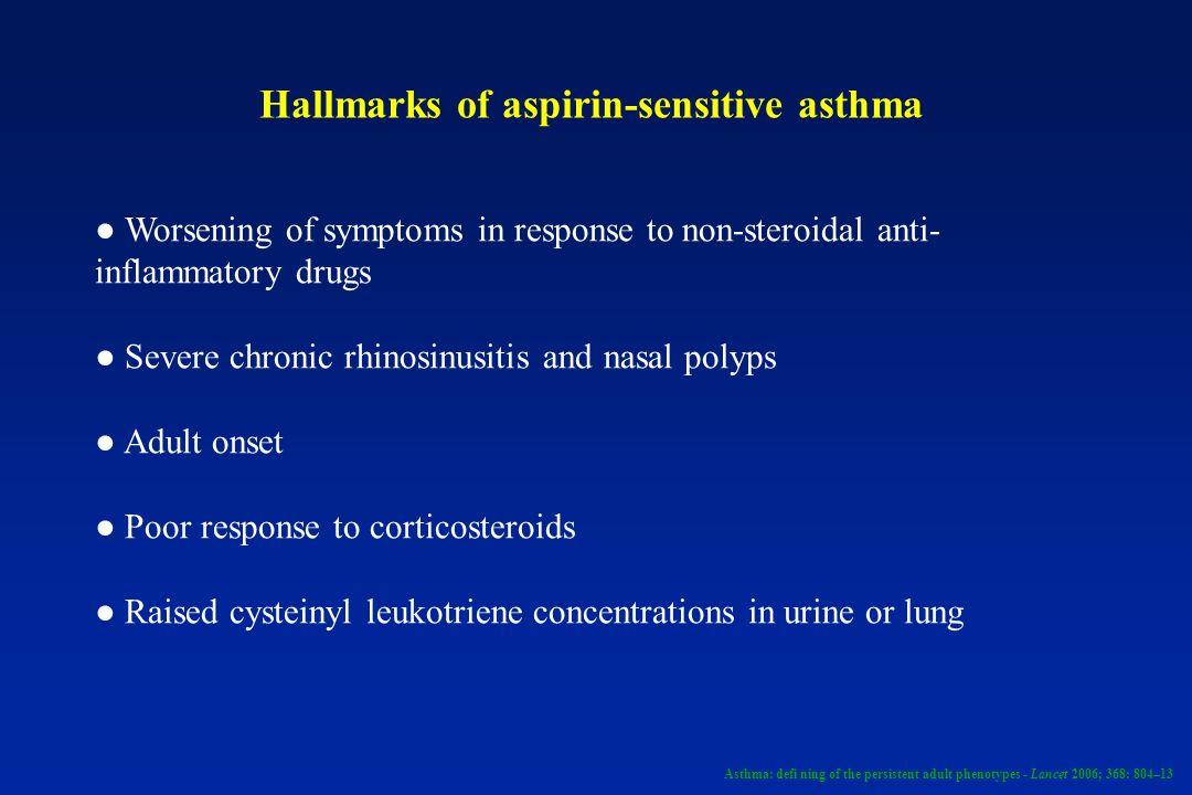 Hallmarks of aspirin-sensitive asthma Worsening of symptoms in response to non-steroidal anti- inflammatory drugs Severe chronic rhinosinusitis and na
