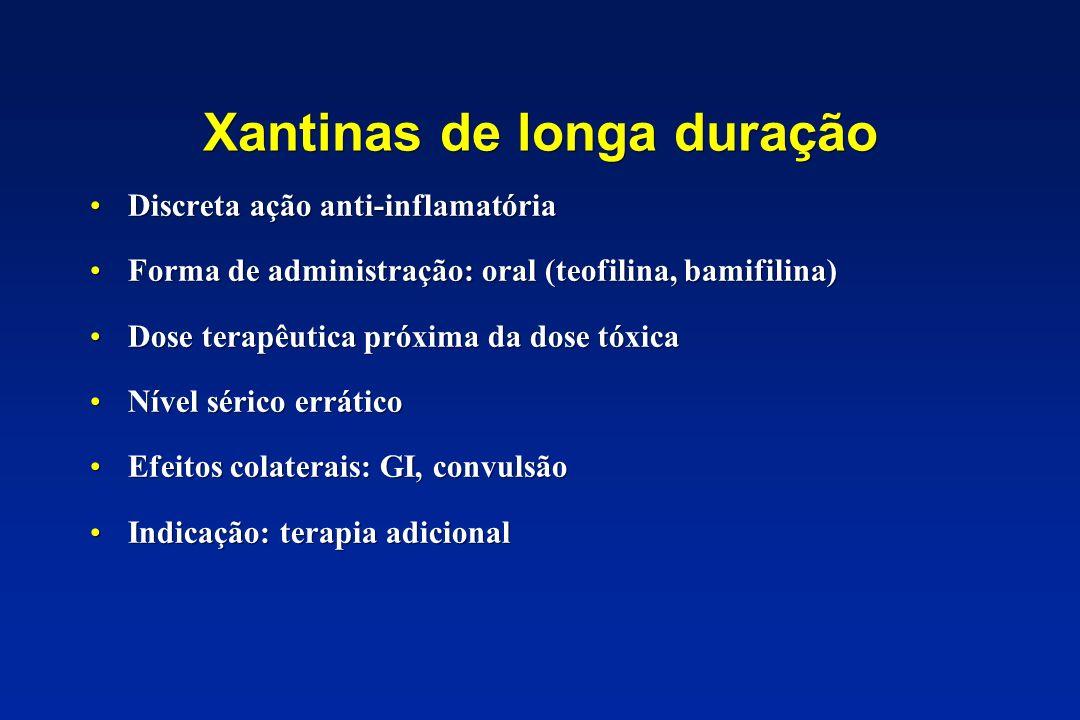 Xantinas de longa duração Discreta ação anti-inflamatória Forma de administração: oral (teofilina, bamifilina) Dose terapêutica próxima da dose tóxica