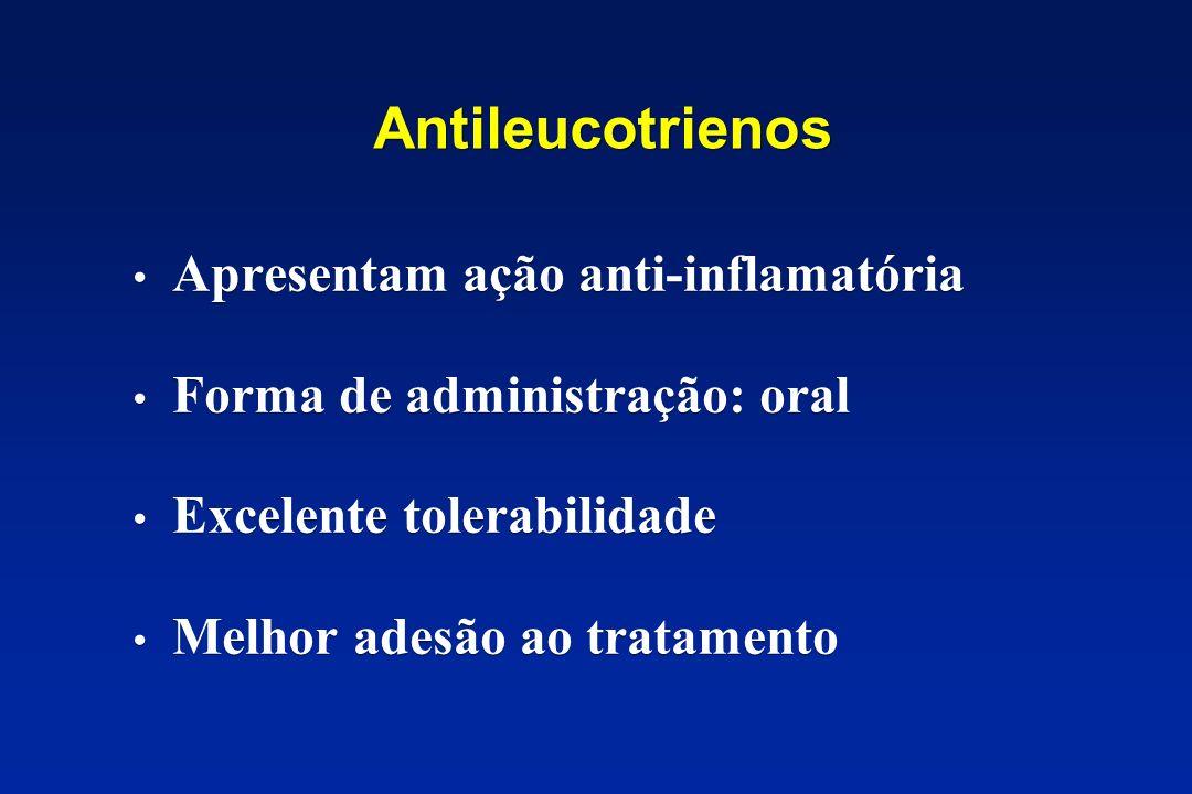 Antileucotrienos Apresentam ação anti-inflamatória Forma de administração: oral Excelente tolerabilidade Melhor adesão ao tratamento Apresentam ação a