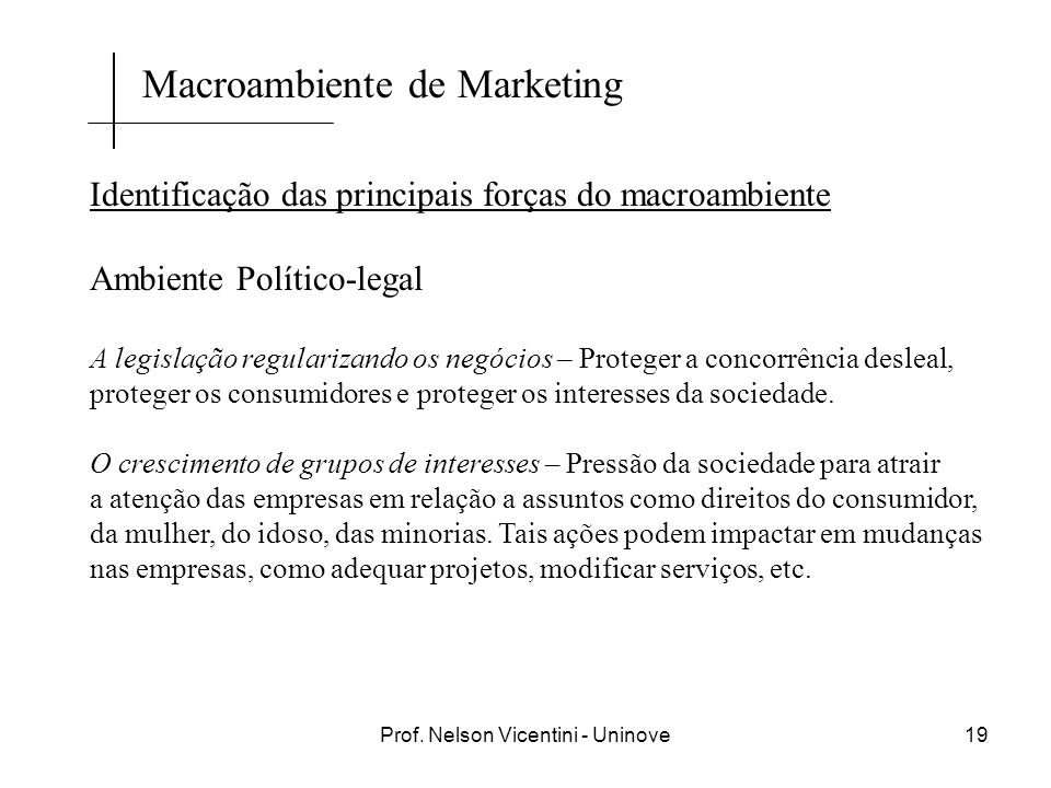 Prof. Nelson Vicentini - Uninove19 Identificação das principais forças do macroambiente Ambiente Político-legal A legislação regularizando os negócios