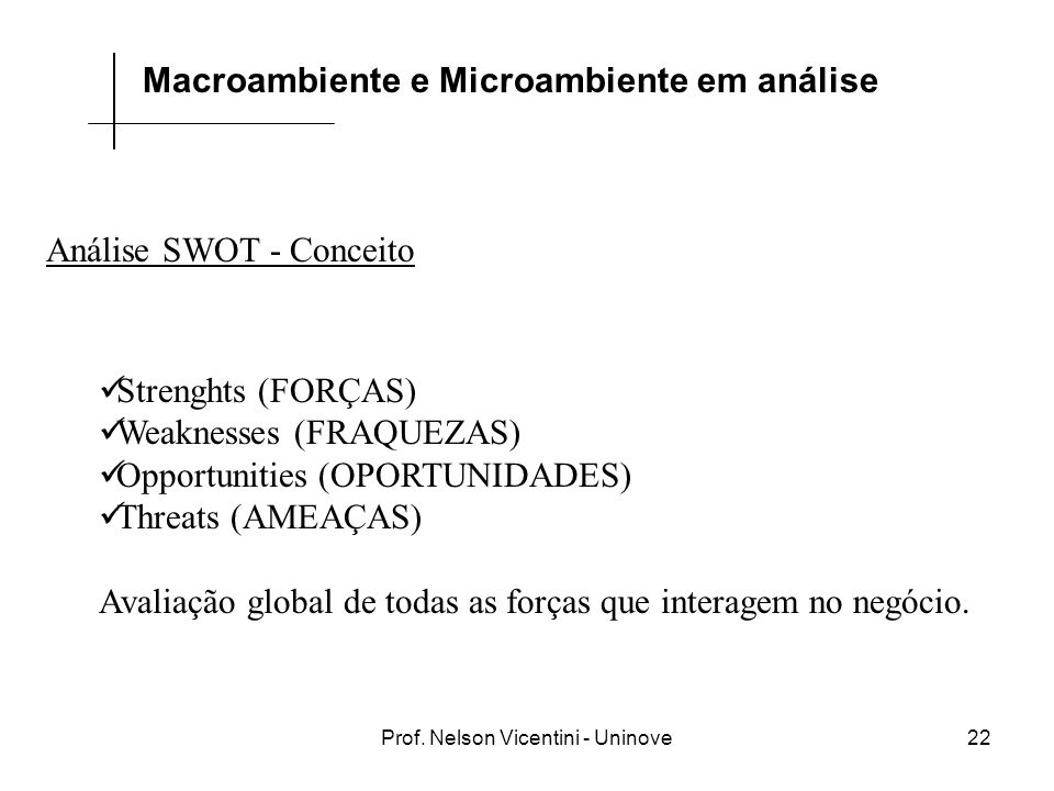 Prof. Nelson Vicentini - Uninove22 Análise SWOT - Conceito Strenghts (FORÇAS) Weaknesses (FRAQUEZAS) Opportunities (OPORTUNIDADES) Threats (AMEAÇAS) A