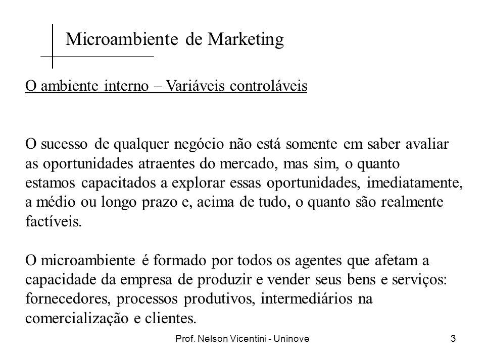 Prof. Nelson Vicentini - Uninove3 O ambiente interno – Variáveis controláveis O sucesso de qualquer negócio não está somente em saber avaliar as oport