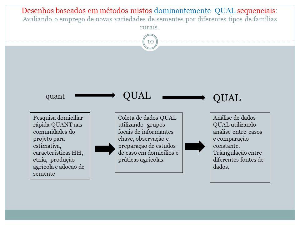 Desenho baseados em métodos mistos dominantemente QUANT sequencial.