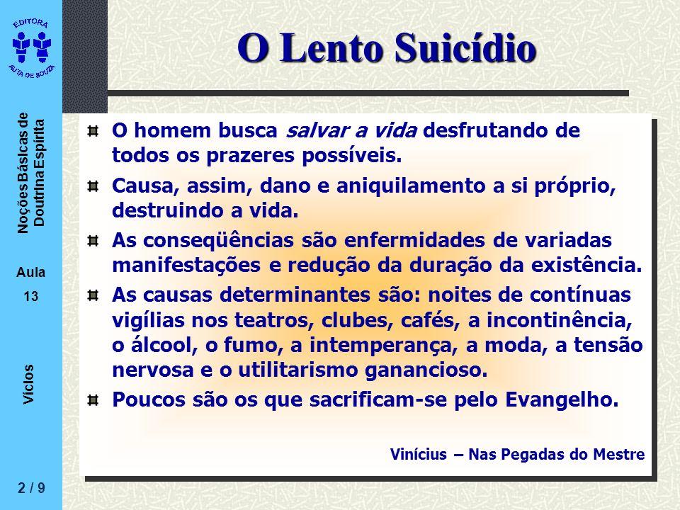 Noções Básicas de Doutrina Espírita Aula 13 Vícios O Lento Suicídio O homem busca salvar a vida desfrutando de todos os prazeres possíveis. Causa, ass