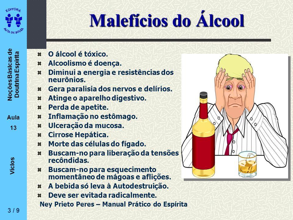 Noções Básicas de Doutrina Espírita Aula 13 Vícios Malefícios do Álcool O álcool é tóxico. Alcoolismo é doença. Diminui a energia e resistências dos n