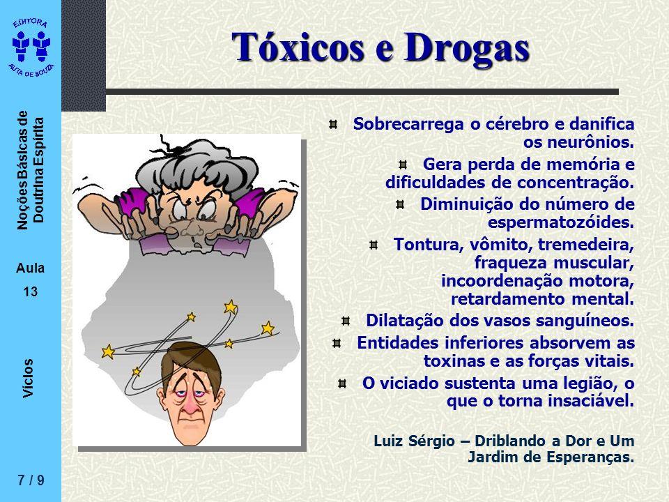 Noções Básicas de Doutrina Espírita Aula 13 Vícios Tóxicos e Drogas Sobrecarrega o cérebro e danifica os neurônios. Gera perda de memória e dificuldad