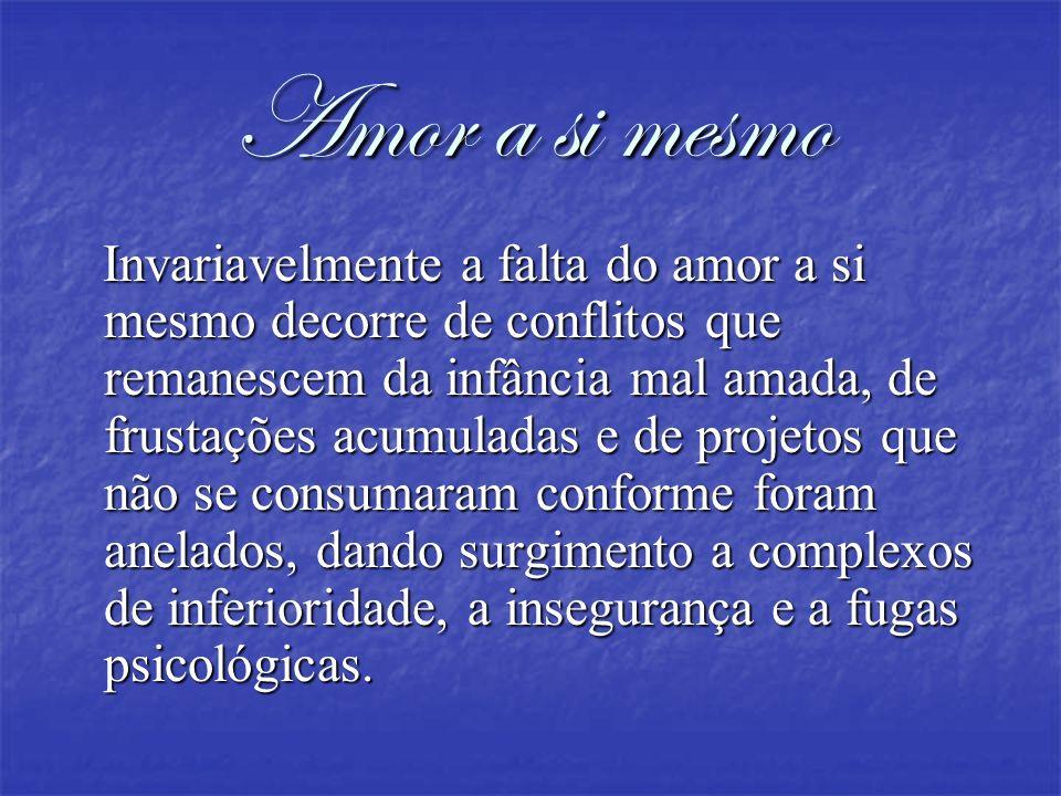 Amor a si mesmo Invariavelmente a falta do amor a si mesmo decorre de conflitos que remanescem da infância mal amada, de frustações acumuladas e de pr