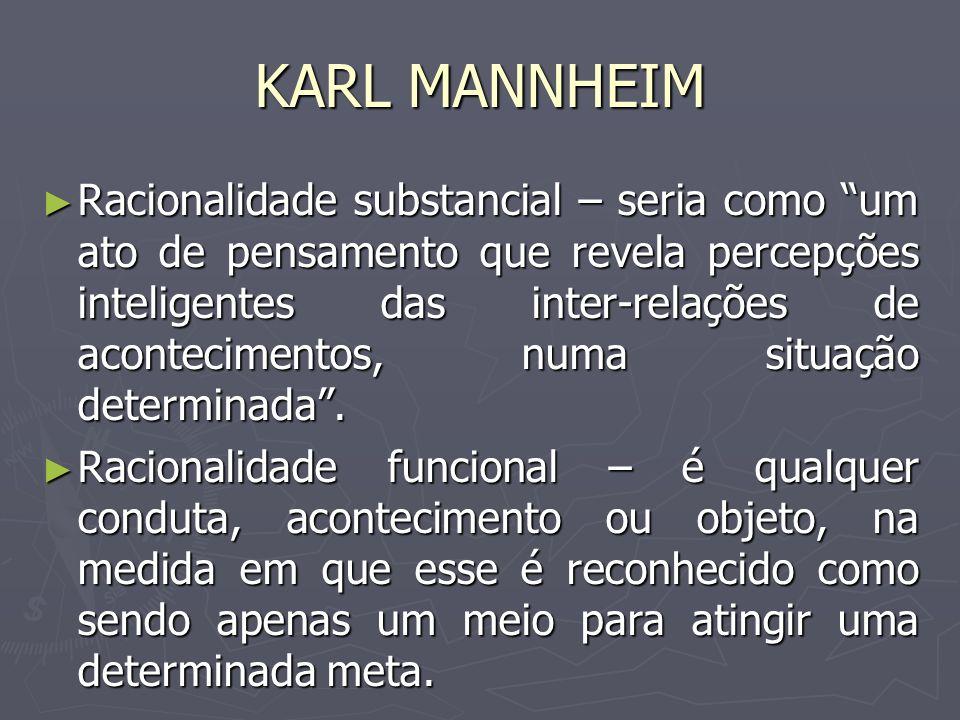 KARL MANNHEIM Racionalidade substancial – seria como um ato de pensamento que revela percepções inteligentes das inter-relações de acontecimentos, num