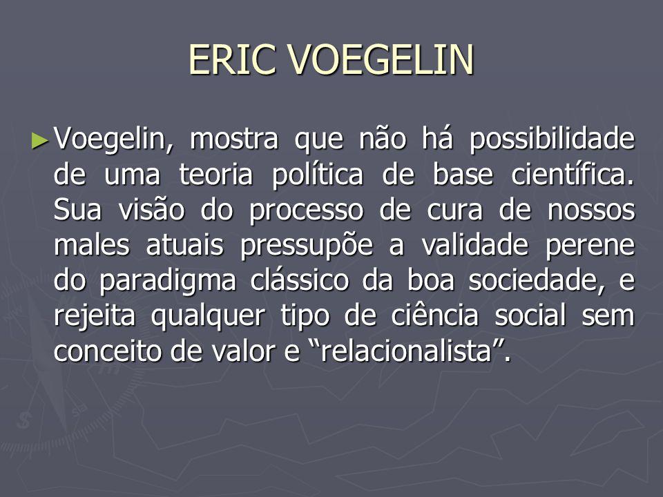 ERIC VOEGELIN Voegelin, mostra que não há possibilidade de uma teoria política de base científica. Sua visão do processo de cura de nossos males atuai