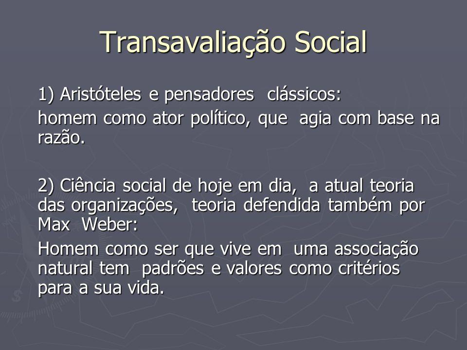 Transavaliação Social 1) Aristóteles e pensadores clássicos: homem como ator político, que agia com base na razão. 2) Ciência social de hoje em dia, a