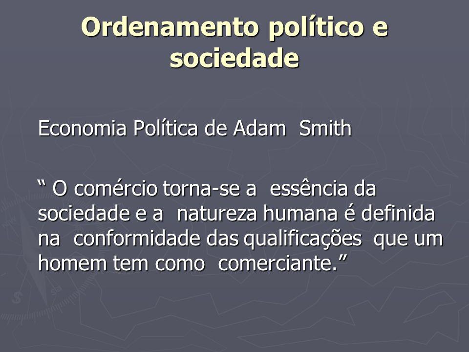 Ordenamento político e sociedade Economia Política de Adam Smith O comércio torna-se a essência da sociedade e a natureza humana é definida na conform