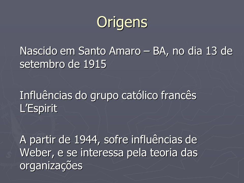 Origens Nascido em Santo Amaro – BA, no dia 13 de setembro de 1915 Influências do grupo católico francês LEspirit A partir de 1944, sofre influências