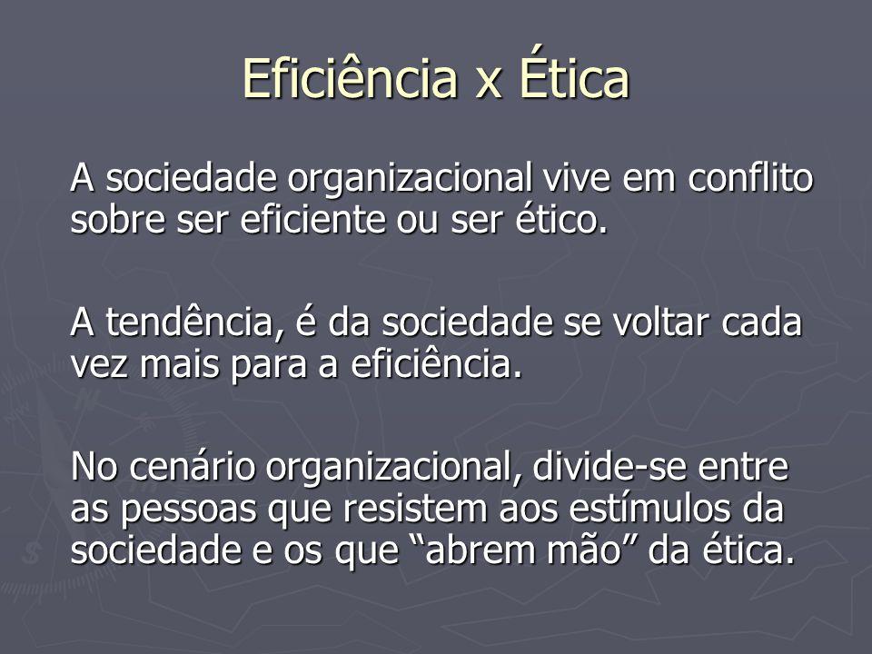 Eficiência x Ética A sociedade organizacional vive em conflito sobre ser eficiente ou ser ético. A tendência, é da sociedade se voltar cada vez mais p