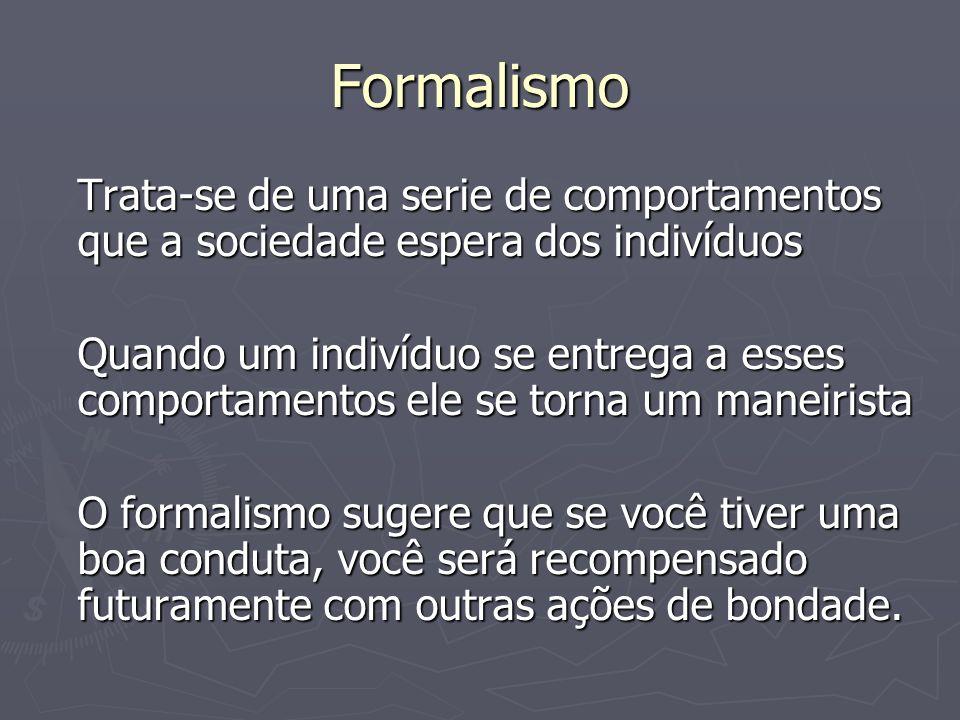 Formalismo Trata-se de uma serie de comportamentos que a sociedade espera dos indivíduos Quando um indivíduo se entrega a esses comportamentos ele se