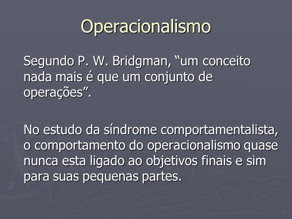 Operacionalismo Segundo P. W. Bridgman, um conceito nada mais é que um conjunto de operações. No estudo da síndrome comportamentalista, o comportament