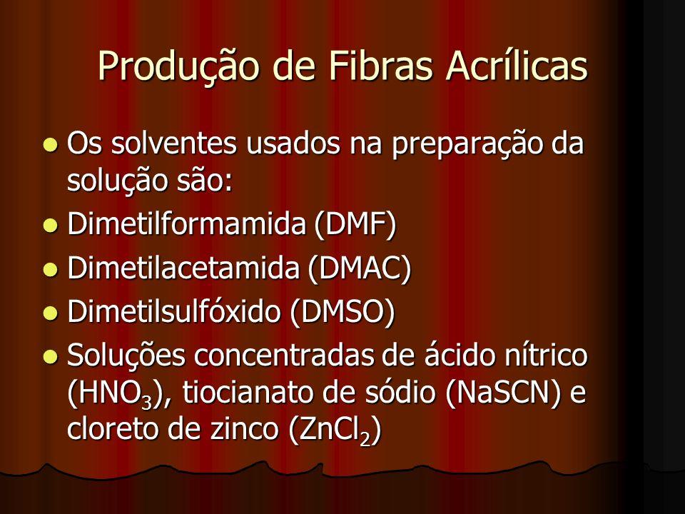 Produção de Fibras Acrílicas Os solventes usados na preparação da solução são: Os solventes usados na preparação da solução são: Dimetilformamida (DMF