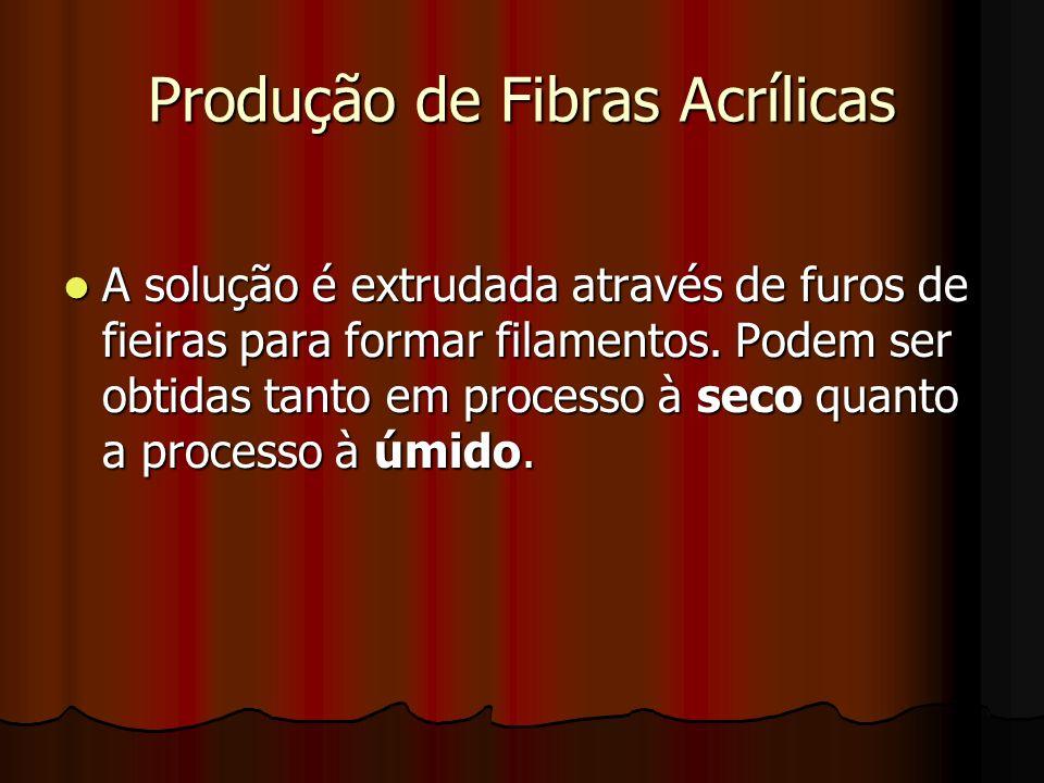Produção de Fibras Acrílicas A solução é extrudada através de furos de fieiras para formar filamentos. Podem ser obtidas tanto em processo à seco quan