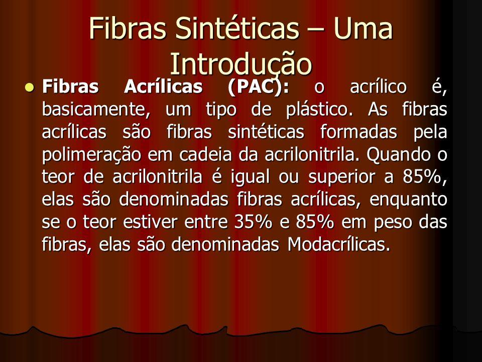 Fibras Sintéticas – Uma Introdução Fibras Acrílicas (PAC): o acrílico é, basicamente, um tipo de plástico. As fibras acrílicas são fibras sintéticas f