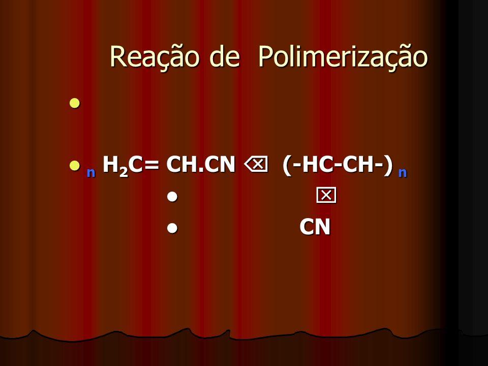 Reação de Polimerização n H 2 C= CH.CN (-HC-CH-) n n H 2 C= CH.CN (-HC-CH-) n CN CN