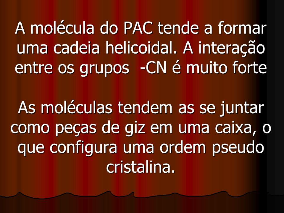 A molécula do PAC tende a formar uma cadeia helicoidal. A interação entre os grupos -CN é muito forte As moléculas tendem as se juntar como peças de g