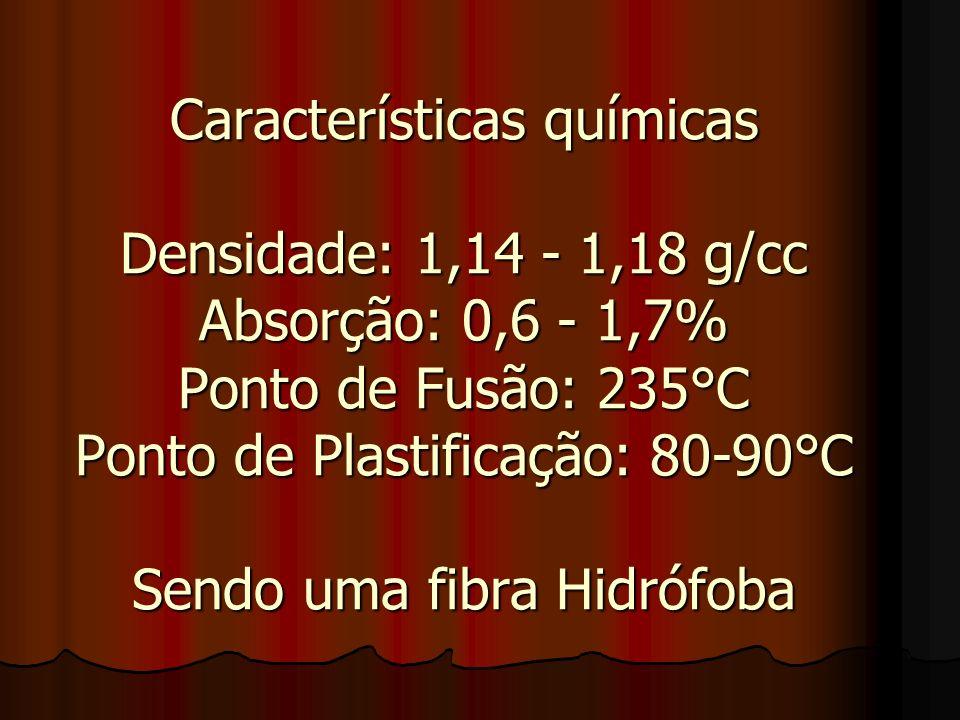 Características químicas Densidade: 1,14 - 1,18 g/cc Absorção: 0,6 - 1,7% Ponto de Fusão: 235°C Ponto de Plastificação: 80-90°C Sendo uma fibra Hidróf