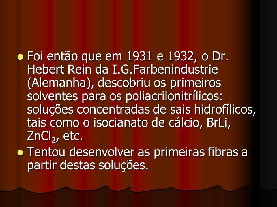 Foi então que em 1931 e 1932, o Dr. Hebert Rein da I.G.Farbenindustrie (Alemanha), descobriu os primeiros solventes para os poliacrilonitrílicos: solu