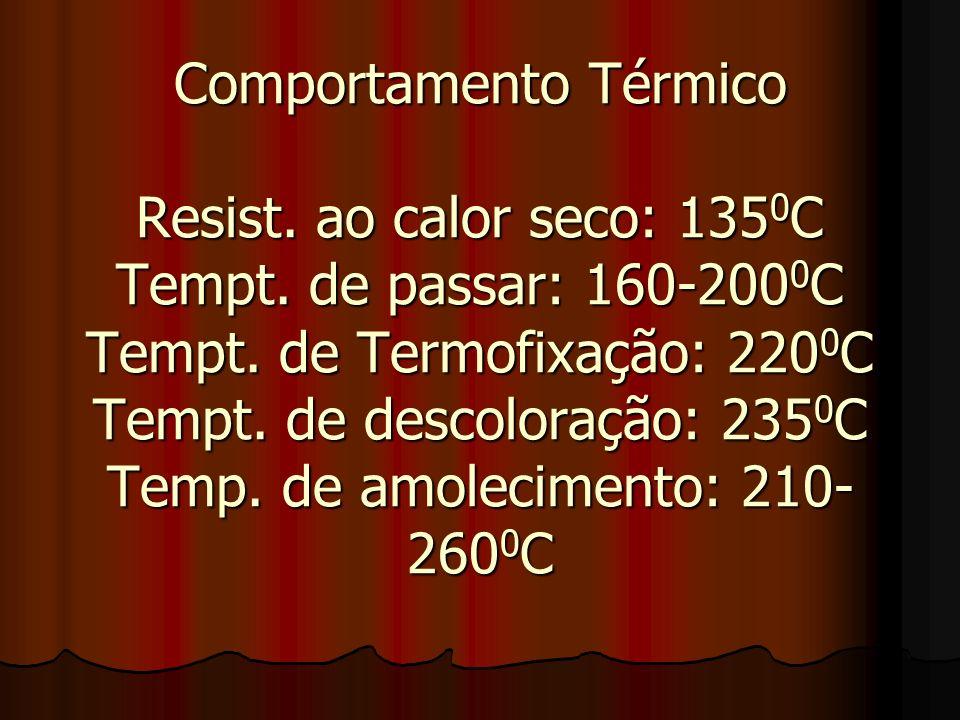 Comportamento Térmico Resist. ao calor seco: 135 0 C Tempt. de passar: 160-200 0 C Tempt. de Termofixação: 220 0 C Tempt. de descoloração: 235 0 C Tem