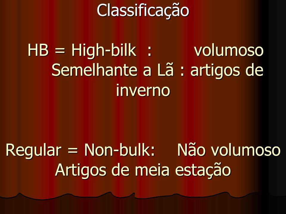 Classificação HB = High-bilk :volumoso Semelhante a Lã : artigos de inverno Regular = Non-bulk:Não volumoso Artigos de meia estação