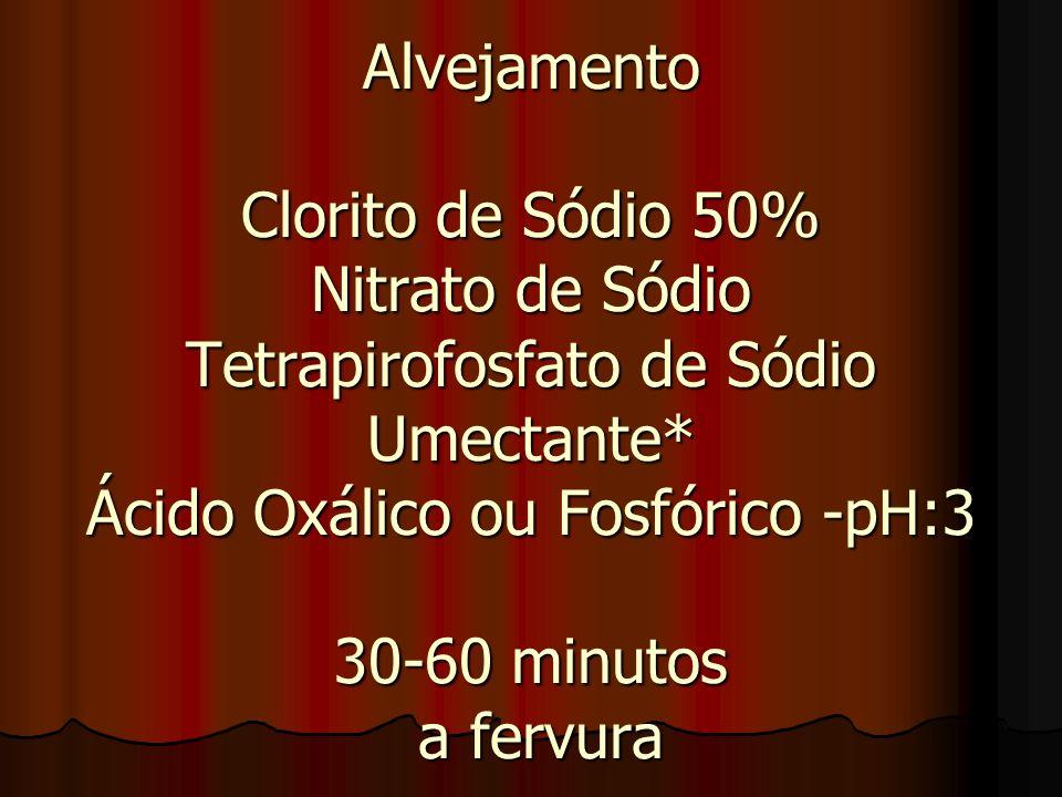 Alvejamento Clorito de Sódio 50% Nitrato de Sódio Tetrapirofosfato de Sódio Umectante* Ácido Oxálico ou Fosfórico -pH:3 30-60 minutos a fervura