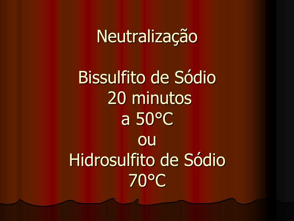 Neutralização Bissulfito de Sódio 20 minutos a 50°C ou Hidrosulfito de Sódio 70°C