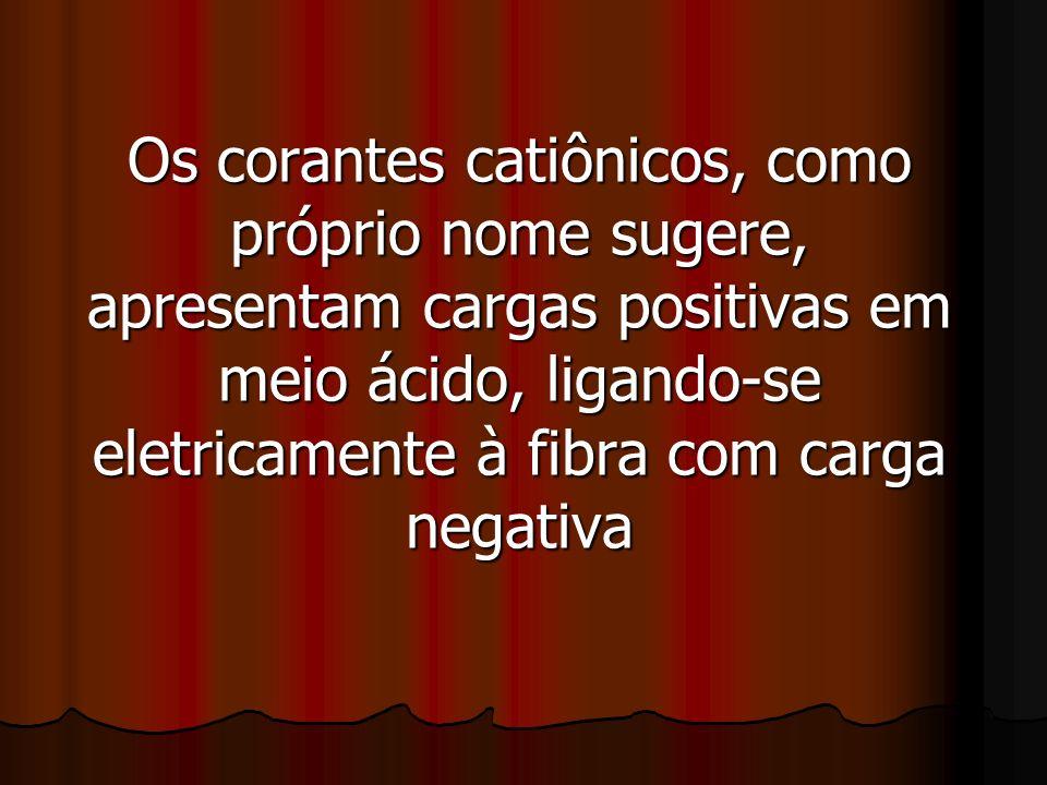 Os corantes catiônicos, como próprio nome sugere, apresentam cargas positivas em meio ácido, ligando-se eletricamente à fibra com carga negativa