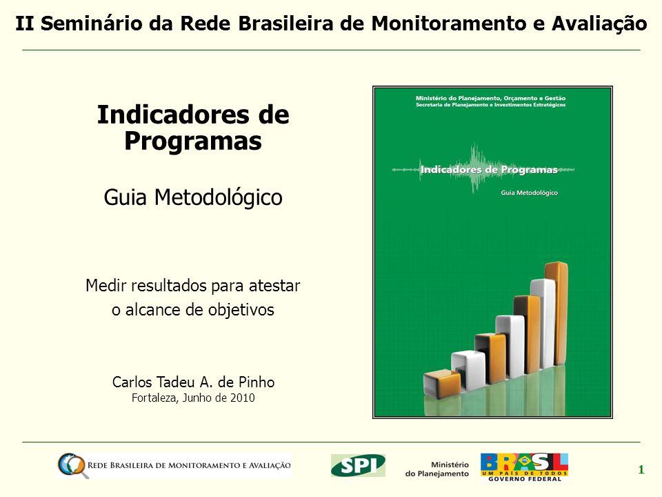 1 Carlos Tadeu A. de Pinho Fortaleza, Junho de 2010 Indicadores de Programas Guia Metodológico Medir resultados para atestar o alcance de objetivos II