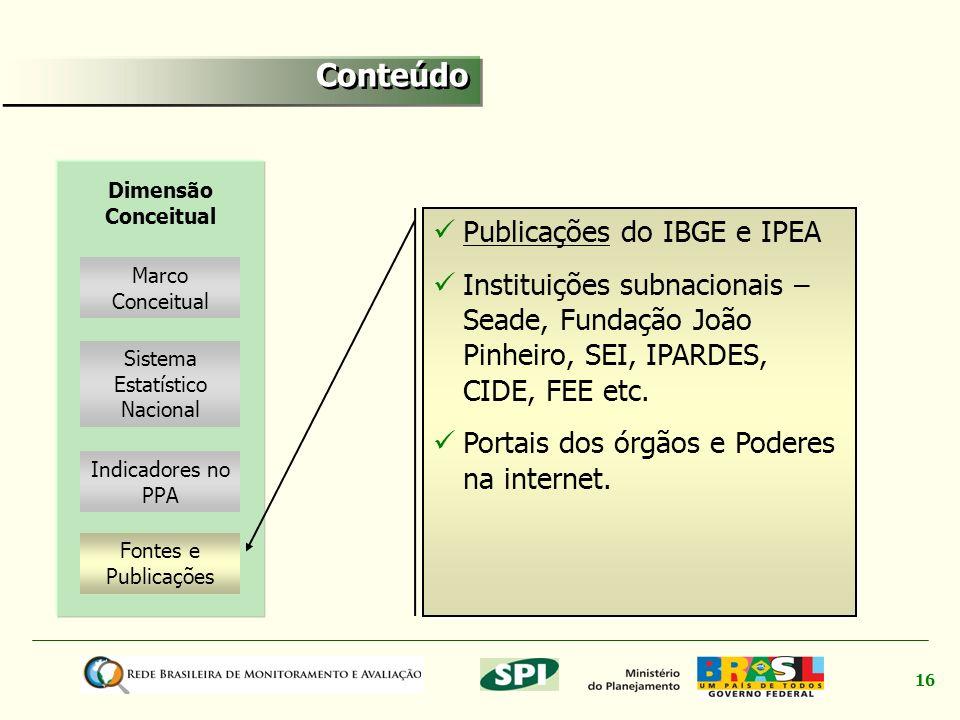 16 Marco Conceitual Fontes e Publicações Dimensão Conceitual Indicadores no PPA Sistema Estatístico Nacional Publicações do IBGE e IPEA Publicações In