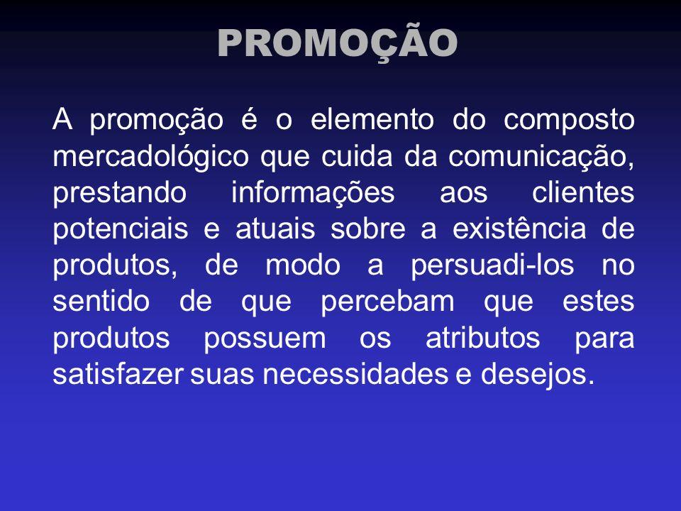 A promoção é o elemento do composto mercadológico que cuida da comunicação, prestando informações aos clientes potenciais e atuais sobre a existência